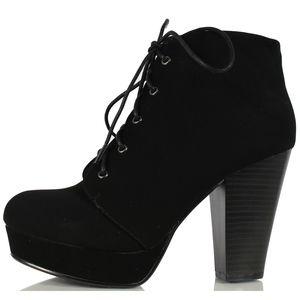 Shoes - Black Faux Nubuck Leather Lace Up Platform Ankle